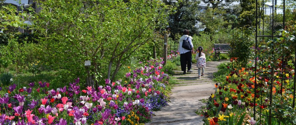 親子3代で春を満喫♪京王多摩川駅近の欧風庭園の画像